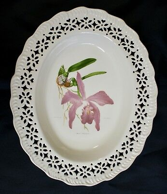V & A Leedsware Classical Creamware Oval Dish, Pierced Border, Orchid Design 2/4