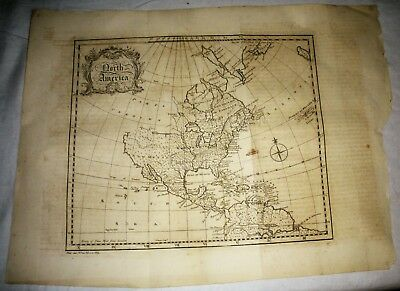 c1750 NORTH AMERICA MAP PARTS UNKNOWN UNDISCOVERED NORTH WEST TERRITORIES vafo