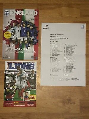 ENGLAND v ITALY  FOOTBALL PROGRAMME WITH OFFICIAL TEAMSHEET - 27 March 2018
