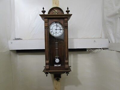 Antique 14-Day Spring Driven Vienna Style Regulator Wall Clock In Walnut Case