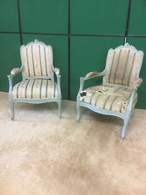Vintage / Antique Pair French Louis Style Arm Chairs Ideal Upholstery Pro Sn-159