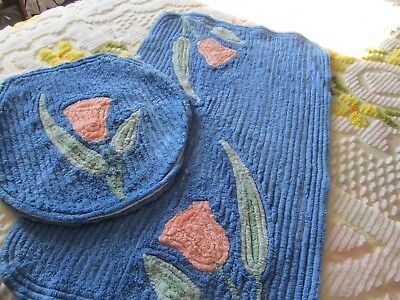 Vintage Chenille Bath Rug And Toilet Cover, Blue/pink Flower