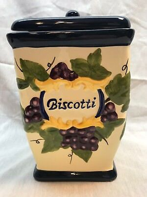 Biscotti Navy Blue & Light Yellow Cookie Jar With Fruit All Around