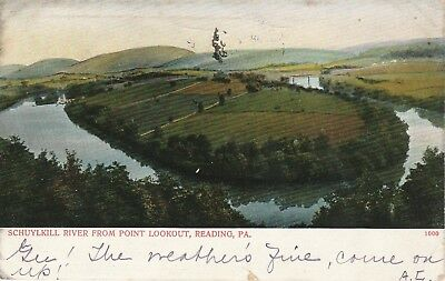 1906 Reading Pennsylvania PA Schuykill River from Point Lookout Postcard