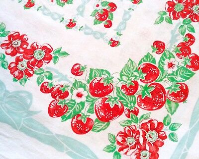Vintage 40s 50 Tablecloth STRAWBERRY Floral RED Berry BOWS Org SWEET VGC 47 x 48