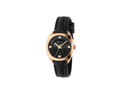 f8e2628530d GUCCI GG2570 BLACK Dial Black Leather Ladies Watch YA142509 ...