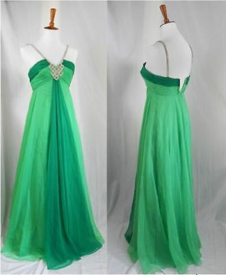 1960s Vintage Prom / Pageant Dress - Gorgeous Green with Rhinestones