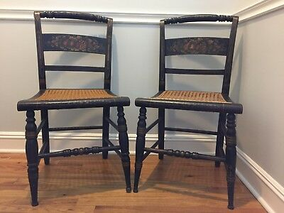 Pair Antique 19th c. Hitchcock-Type Cane Seat Stenciled Farmhouse Chairs