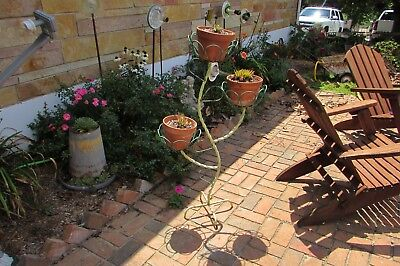 Antique Vintage Twisted Iron Green Flower Pot Stand Planter #2840BP