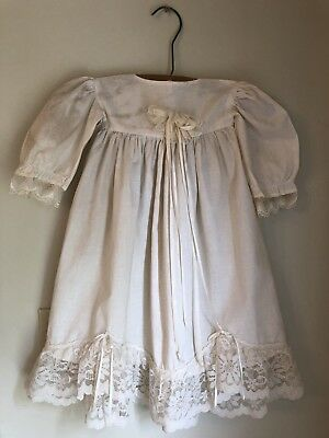 Vintage Antique Baby Baptismal Christening Gown-Off White With Lace Hem