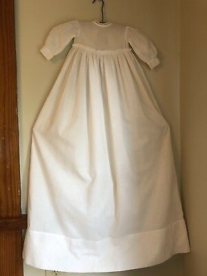 Vintage Antique Long White Cotton Baby Christening Gown Boy Girl Lace Collar