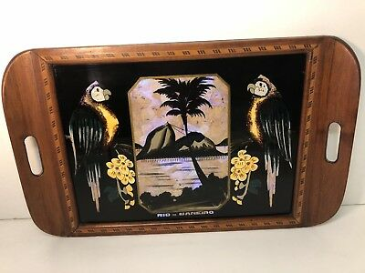 Antique Butterfly Wing Exotic Inlaid Wood Tray Souvenir of Rio de Janeiro Parrot