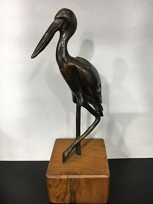 "Jabiru Bird Solid Bronze Sculpture 7.5"" on Hardwood Base *New* Australian Made"