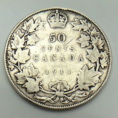 1911 Canada Godless 50 Fifty Cents Half Dollar King George Canadian Coin G083
