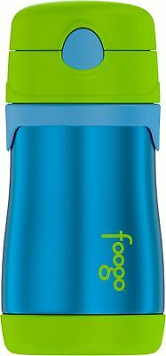 Thermos FOOGO Vacuum Insulated Stainless Steel 10-Ounce Straw Bottle, Blue/Green
