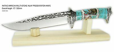 """Native American Navajo Multi Stone Inlay 12"""" Fixed Blade Knife w/Stand"""