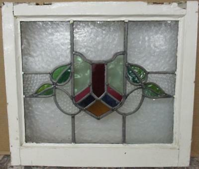 """OLD ENGLISH LEADED STAINED GLASS WINDOW Pretty Shield & Leaves 21.75"""" x 19.25"""""""