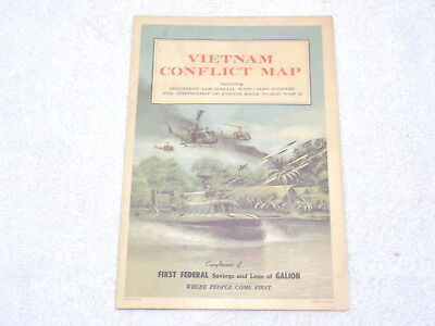 Vintage Vietnam Conflict Map~C.S. Hammond~First Federal of Galion OH