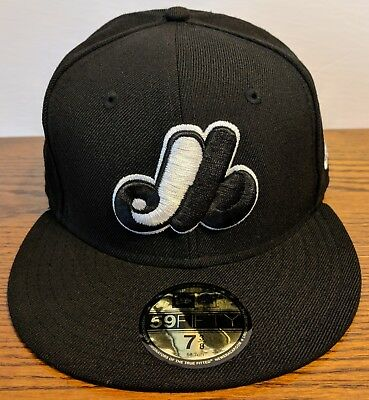 0e861bf0438 MONTREAL EXPOS Cooperstown Collection New Era 59FIFTY Hat Black White Size  7 3 8