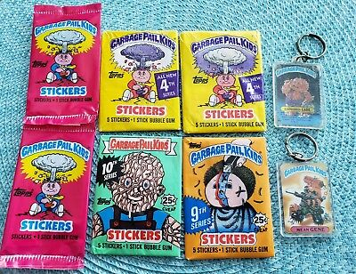 Lot of 8 Garbage Pail Kids Stickers 4th, 9th, 10th Series Stickers, Key chains
