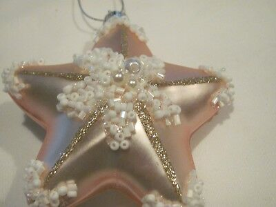 New Nicole Pink Star Ornament With White Beads/pearls & Gold Glitter
