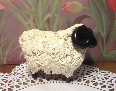 Vintage Scottish White Blackfaced Ram Sheep Spaghetti Ceramic Figurine Scotland