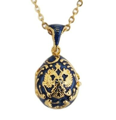 Women's Brass Faberge Egg Pendant Crystal jewelry necklace