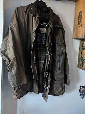 Vintage Barbour Beaufort Waterproof Jacket Size C42 /107CM Olive Green Corduroy