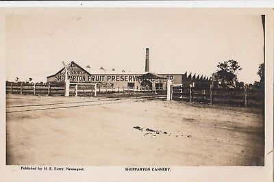 Real photo postcard Shepparton Fruit Preserve & Co cannery Victoria, scarce