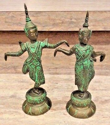 Antique Pair of Ornate Rattanakosin Bronze Thai Dancer Statuettes Great Patina