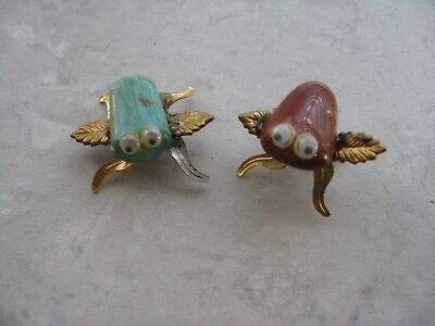 Vintage Gold Plate Natural Stone Lot of 2 Bugs Small Decoration