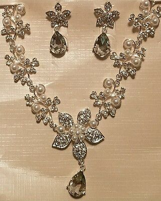 Fashion Wedding Bridal Party Pageant Crystal Necklace and Post Earring Set Gift