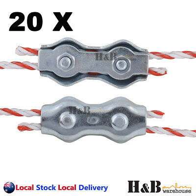 20 Electric Fence Poly Wire Joiner PolyWire Rope Braid Connector Fencing Joiners