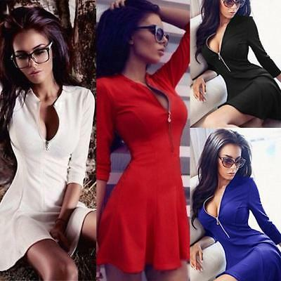 Women Ladies Sexy Long Sleeve Casual Party Evening Cocktail Short Mini Dress UK