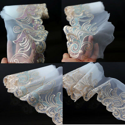 2 Yards Embroidered Tulle Sewing Lace Trim Bridal Dress Hairband Sash DIY Decor