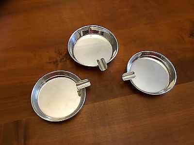 "Set of 3 Vintage Solid Silver Ashtray ""Portuguese Eagle .925"""