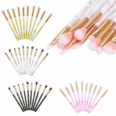 Pro 10Pcs Marble Makeup Brushes Set Foundation Powder Eye Shadow Cosmetic Brush