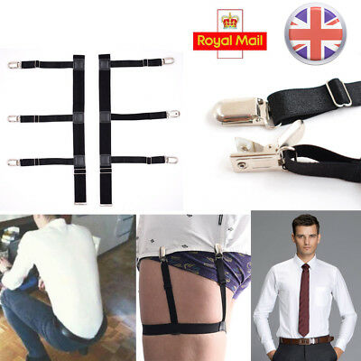 Men T-Shirt Suspender Stays Holder Elastic Garter With Non-slip Locking Clamp UK