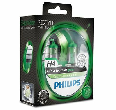 Philips ColorVision Green H4 Car Headlight Bulb 12342CVPGS2 (Twin)