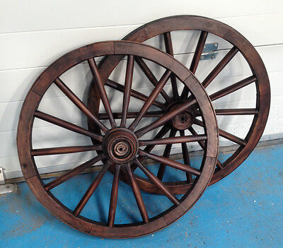 Old cart gig spoked stained wood wheel 68cm dia dark oak stained, replica