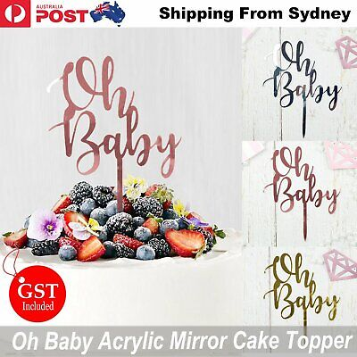 Oh Baby Cake Topper Glod Silver Rose Acrylic Mirror Party Parties Event Decorati