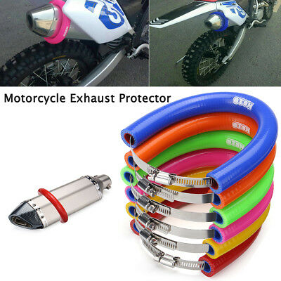 Motorcycle Universal Silicone Steel Exhaust Heat Shield Protector Cover Guard