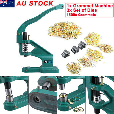"1500PCS Grommet 3 Dies Eyelet Hand Press Hole Punch Machine 1/4"" 3/8"" 1/2"""