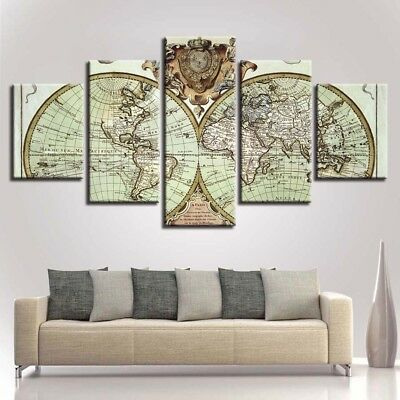Vintage World Map 5 Panel Canvas Print Poster Wall Art Painting Home Decor