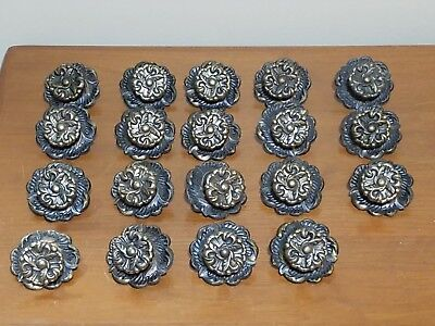 VTG Brass Rosette Flower Drawer/Cabinet Knobs/Pulls & Backplates / Allison Japan