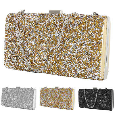 Fashion Womens Diamante Clutch Evening Bag Wedding Party Prom Handbag Purse UK