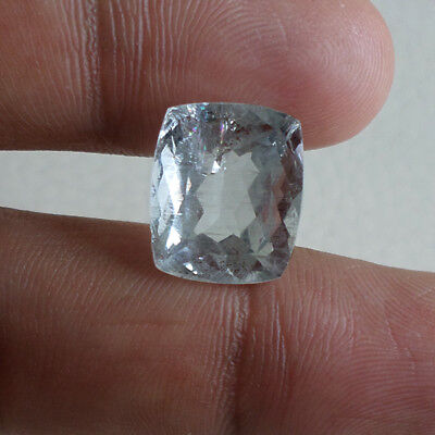 Certified 9 Ct Natural Beryl Untreated Aquamarine Genuine Loose Cushion Cut Gem