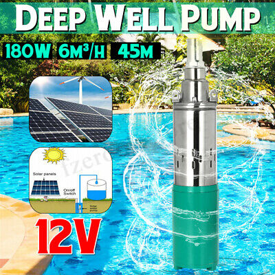 180W 3m³/H Deep Well Water Pump Submersible Bore Hole Pond Stainless Steel Ranch