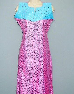New ladies African Wear Ankara pink & blue sleeveless midi dress size 8 10