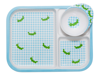 NEW RICE Kids melamine plate & bowl set - Caterpillar print